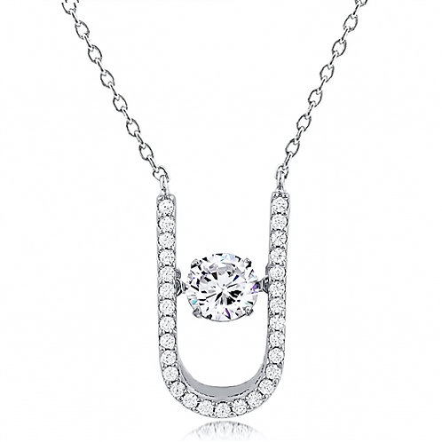 Silver dancing Necklace With CZ