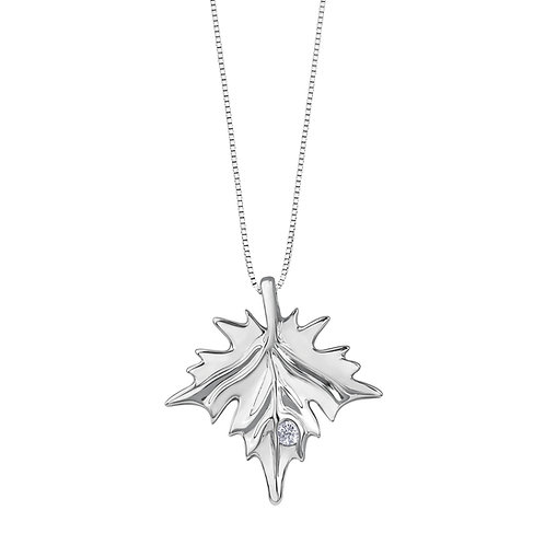 Silver Diamond Pendant with Chain