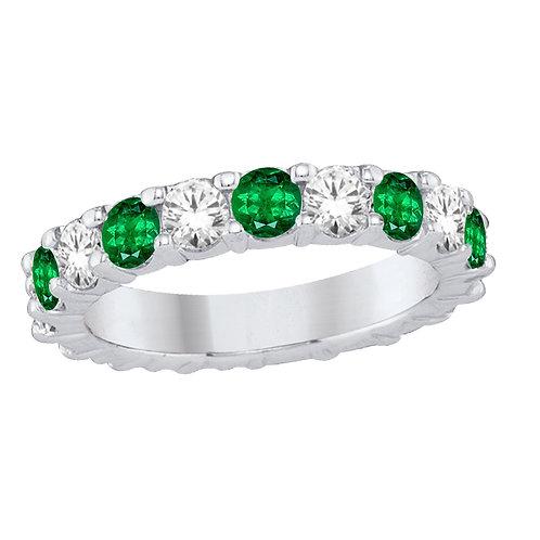 White Gold Diamond &Emerald Band