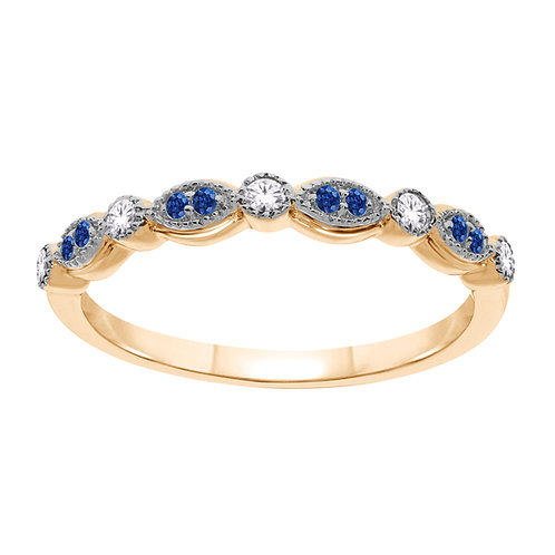 Yellow Gold Diamond and Sapphire Ring