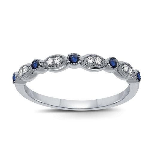 White Gold Diamond & Sapphire Ring