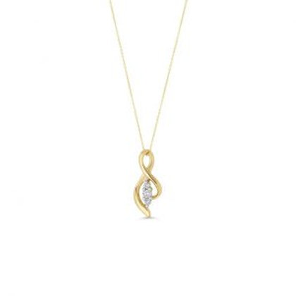 Yellow Gold 3 Stone Open Side Figure of 8 Pendant with Chain