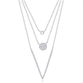 Silver Layered Necklace With CZ - 3 Chains Joined