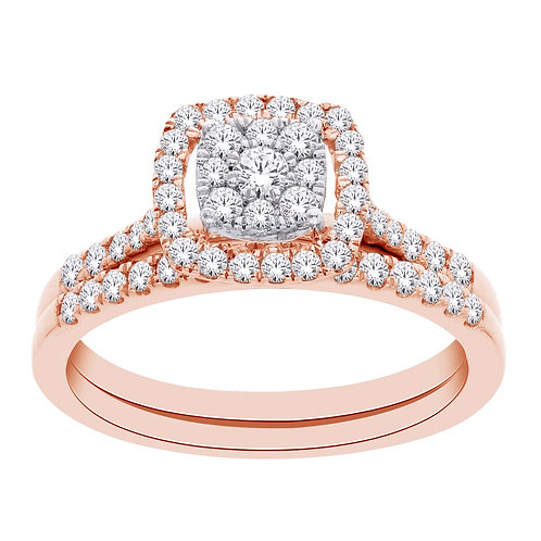 10k Rose Gold Diamond Ring with Matching Band