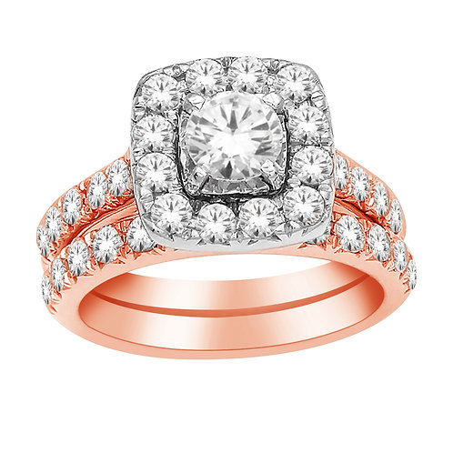 Rose Gold Diamond Ring with Matching Band
