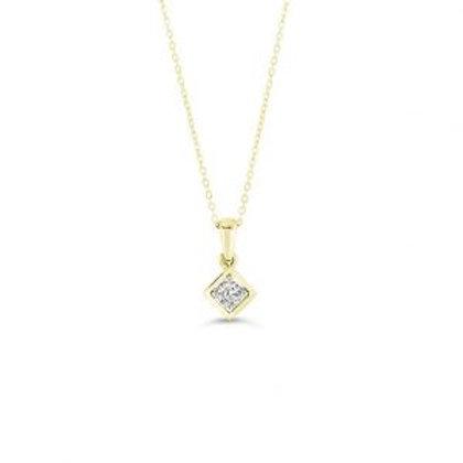 Diamond 4-CLaw Square Pendant with Chain