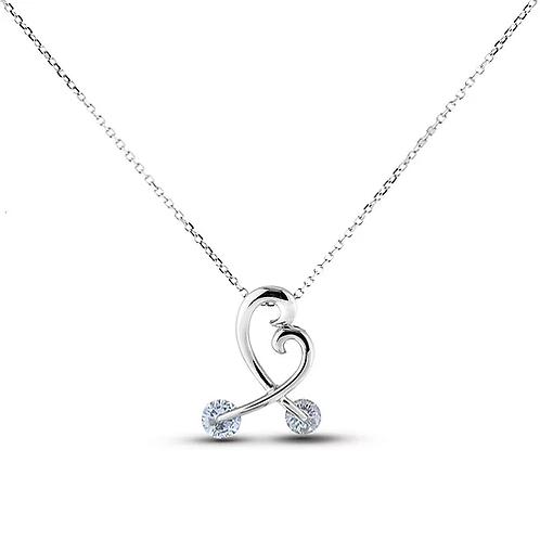 10k White Gold Diamond Pendant with Chain