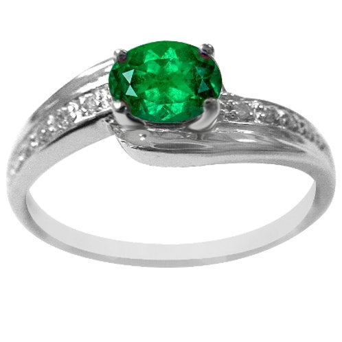 White Gold Ring with Diamond and Emerald