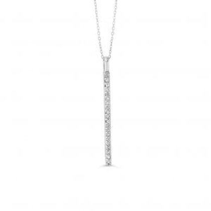 White Gold Diamond Vertical Bar Pendant with Chain