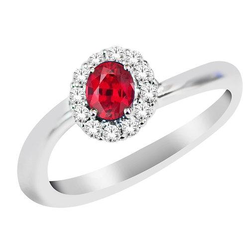 10k White Gold Diamond & Ruby Ring
