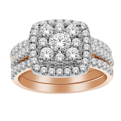 10k Rose Gold Diamond Ring with 2 Matching Bands on Each Side