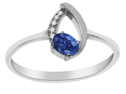 White Gold Ring with Sapphire and Diamond Stones
