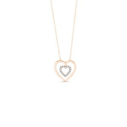 Diamond Double Heart Pendant with Chain