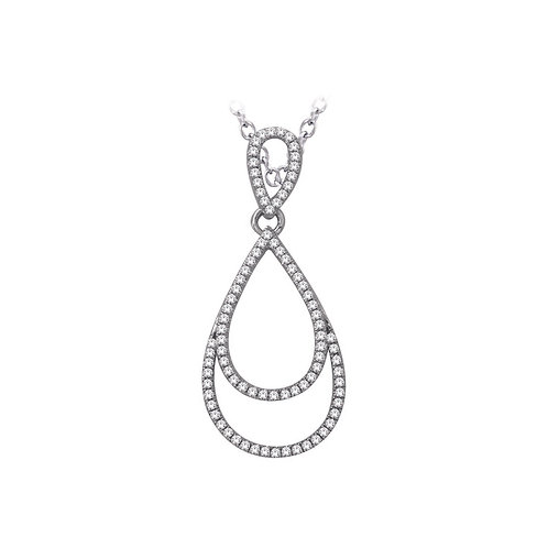 White Gold Diamond Pendant with Chain