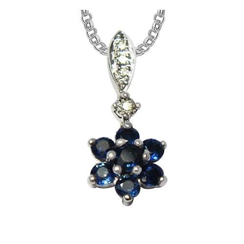 White Gold Diamond & Sapphire Pendant