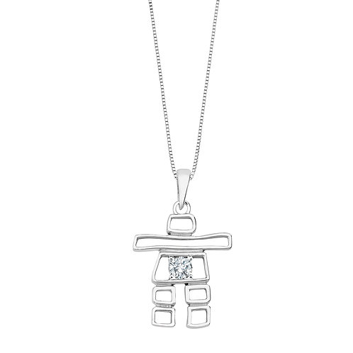 Silver Diamond Pendent with Chain