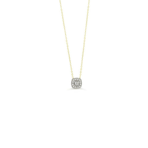 10K Yellow Gold Diamond Princess Shape Halo Pendant with Chain