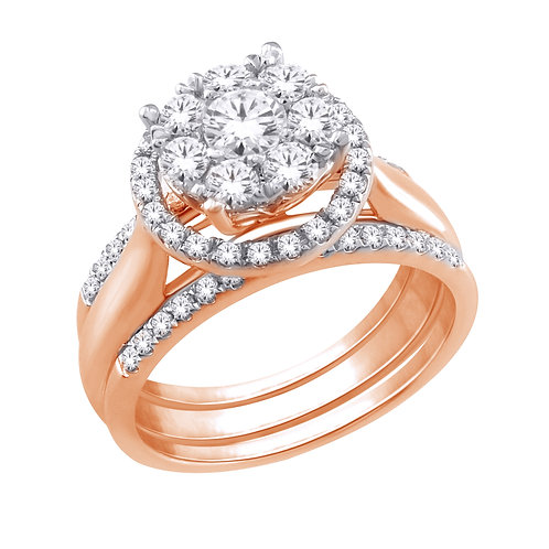 Diamond Ring with 2 Matching Bands
