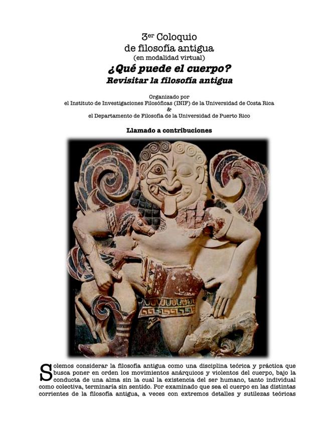 3er Coloquiode filosofía antigua (virtual)¿Qué puede el cuerpo? Revisitar la filosofía