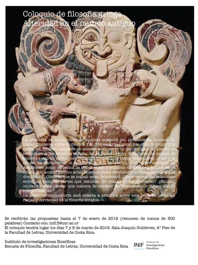 Coloquio de Filosofía Griega: Alteridad en el Mundo Antiguo.