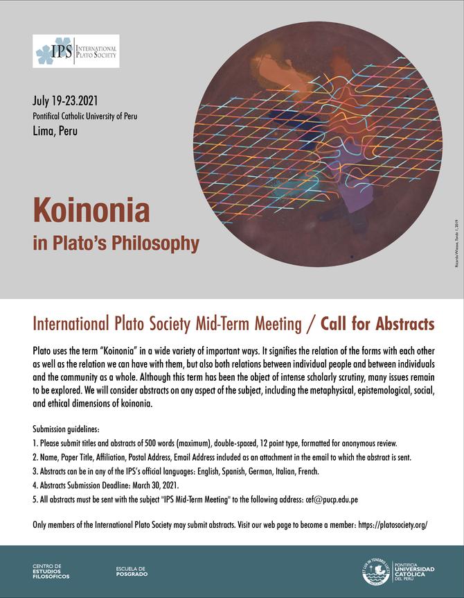 Koinonia in Plato's Philosophy (Lima, Peru, July 19-23 – 2021)