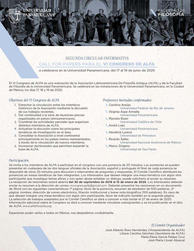 VI CONGRESO DE ALFA: Llamada a presentación de propuestas (AMPLIACIÓN DE PLAZO HASTA EL 15 DE ENERO
