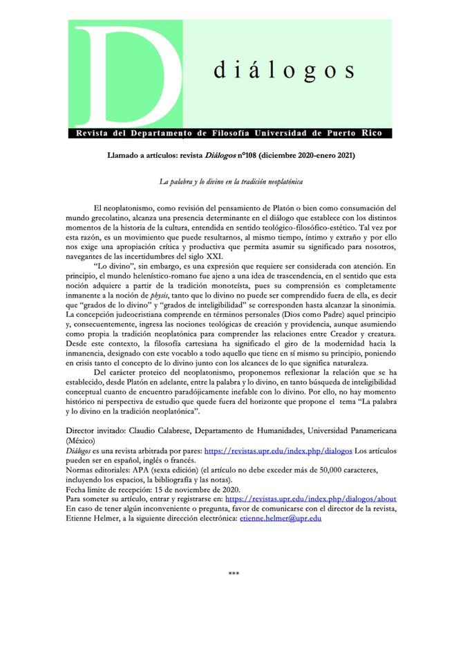 """Convocatoria Revista Diálogos: """"La palabra y lo divino en la tradición neoplatónica"""""""