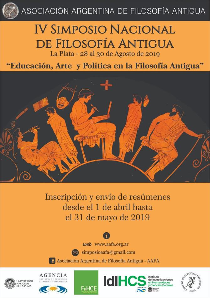 IV Simposio Nacional de Filosofía Antigua, La Plata, Argentina