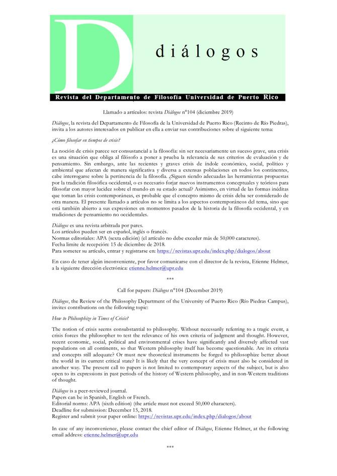 Invitación a publicar en la revista Diálogos de la Universidad de Puerto Rico