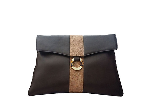 Brown oversize lambskin clutch