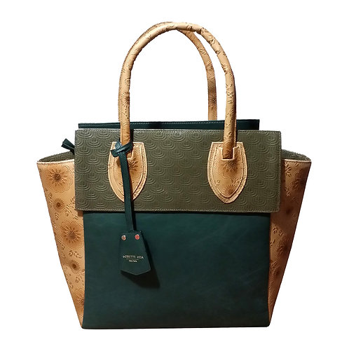 Green distressed leather bag
