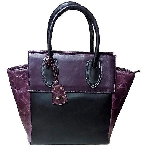 Purple embossed leather tote bag