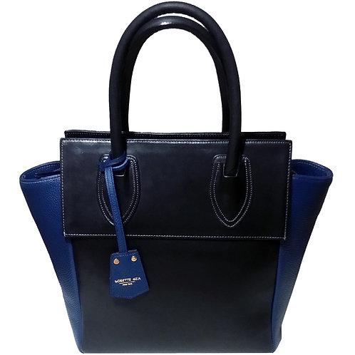 Blue pebble leather bag