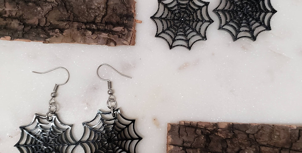 Spiderweb Earrings | Spider Earrings | Halloween Hanging Earrings