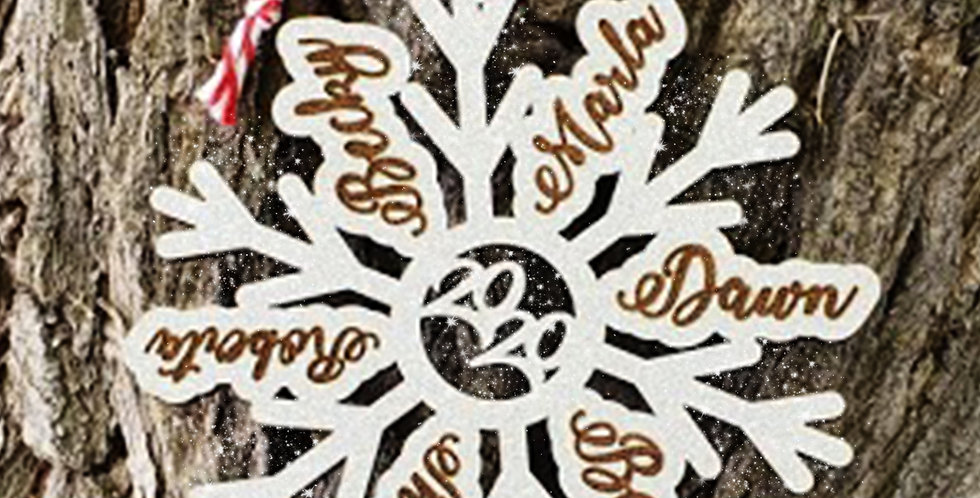 Family Snowflake Ornament | Friendship Token | Personalized Christmas Ornament