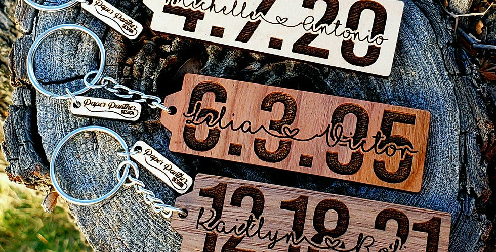Custom Name and Date Keychain | Anniversary Wood Keyring | Gift Idea