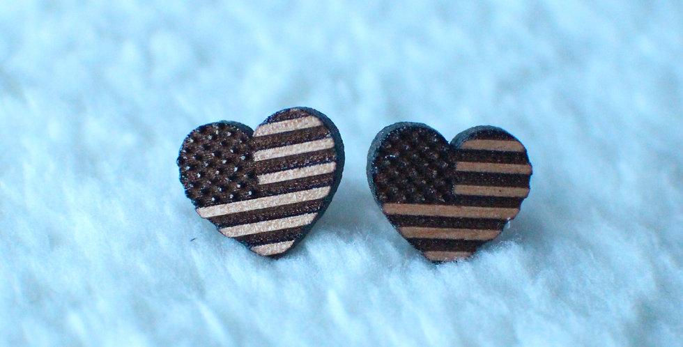 Flag Heart Stud Earrings