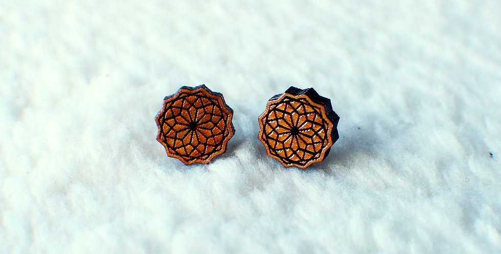 Geometric Mandala Stud Earrings