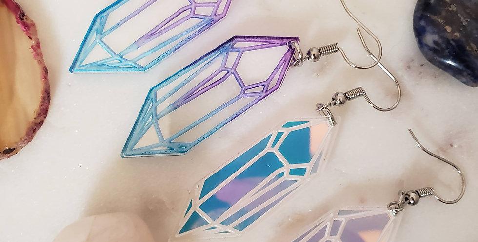 Crystal Earrings | Geometric Earrings | Holographic Hanging Earrings