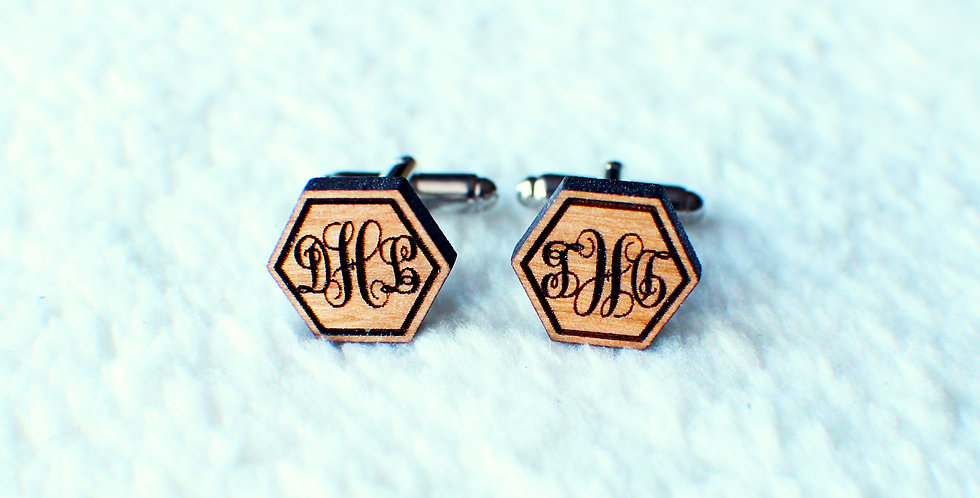 Monogram Hexagon Cufflinks