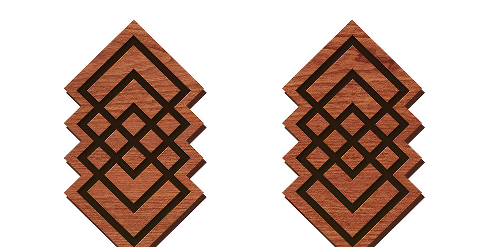 Geometric Square Chain Stud Earrings
