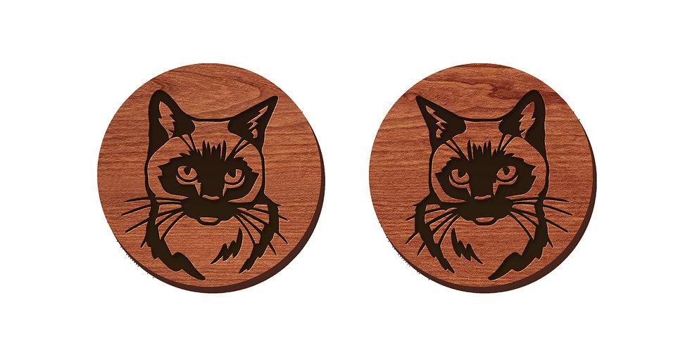 Himalayan Cat Stud Earrings