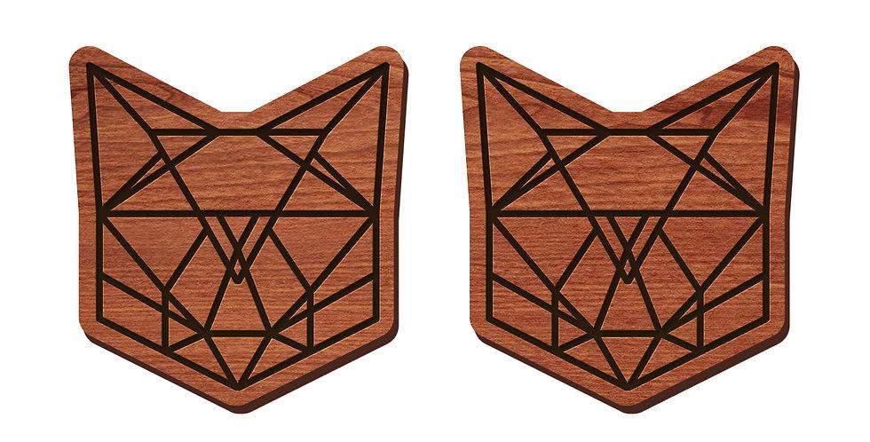 Geometric Cat Stud Earrings