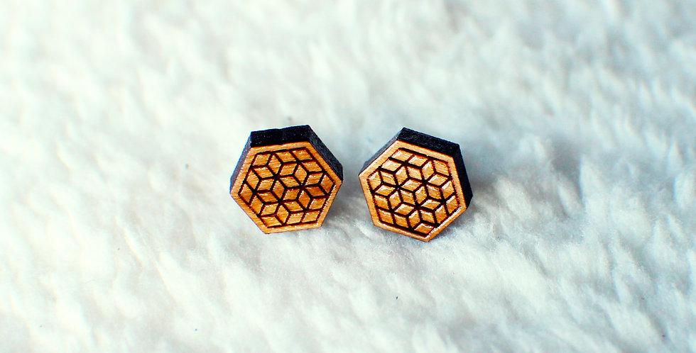 Geometric Hexagon Stud Earrings