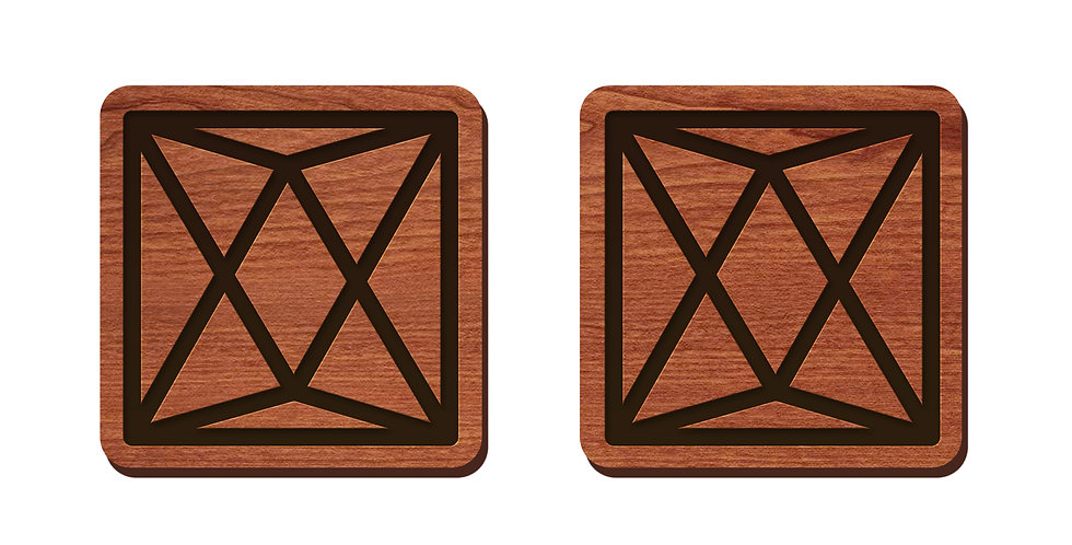 Geometric Box Stud Earrings