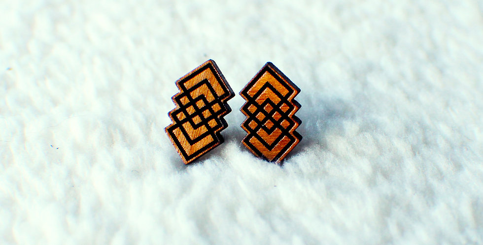 Geometric Square Stud Earrings