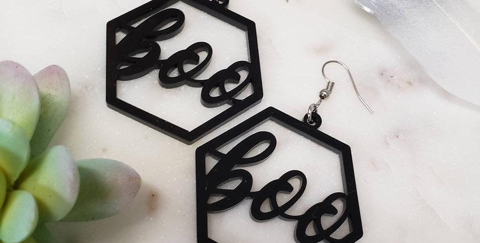Hexagon Boo Earrings | Geometric Earrings | Halloween Hanging Earrings