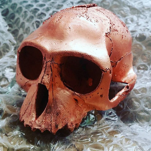 COPPER PLATED MONKEY SKULL