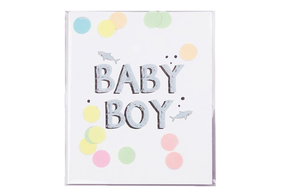 BabyBoy Konfetti Karte