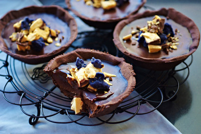 Chocolate and violet honeycomb tarts